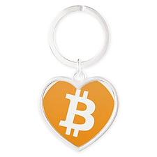 Bitcoin Logo Heart Keychain