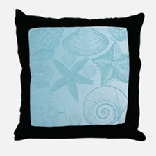 Aqua shells Throw Pillow