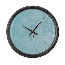 Aqua shells Large Wall Clock