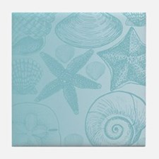 Aqua shells Tile Coaster