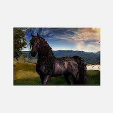 Freisian Horse Rectangle Magnet