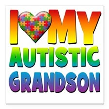 "I Love My Autistic Grand Square Car Magnet 3"" x 3"""