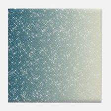 Teal and White Sparkles Tile Coaster