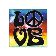 "Love  Peace Square Sticker 3"" x 3"""