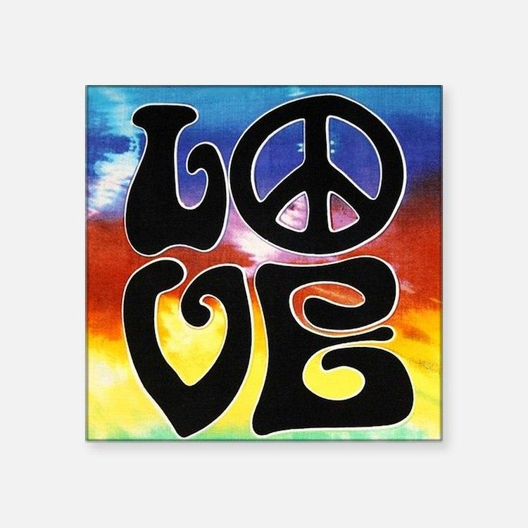 """Love  Peace Square Sticker 3"""" x 3"""""""