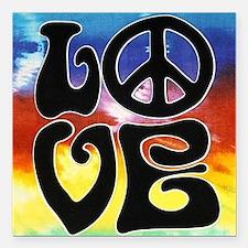 "Love  Peace Square Car Magnet 3"" x 3"""