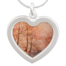 Tree With Red 1 Silver Heart Necklace