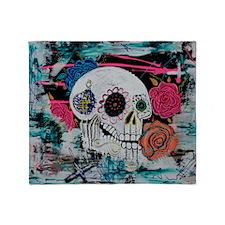 Sugar Skull and Roses Throw Blanket