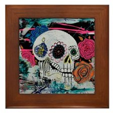 Sugar Skull and Roses Framed Tile