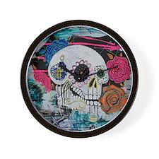 Sugar Skull and Roses Wall Clock