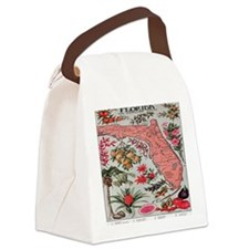 Vintage Florida Map with Fruit an Canvas Lunch Bag