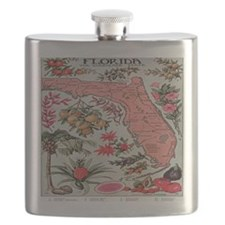 Vintage Florida Map with Fruit and Flowers S Flask