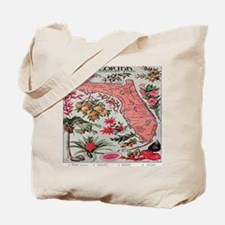 Vintage Florida Map with Fruit and Flower Tote Bag