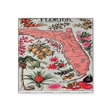 """Vintage Florida Map with Fr Square Sticker 3"""" x 3"""""""