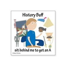 "History Buff Square Sticker 3"" x 3"""
