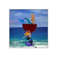 "Mermaid Wine Square Sticker 3"" x 3"""