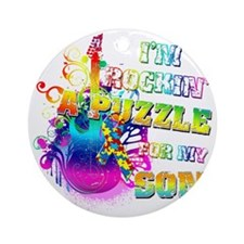 Im Rockin A Puzzle for my Son Round Ornament