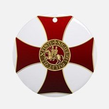 Templar cross and seal Round Ornament