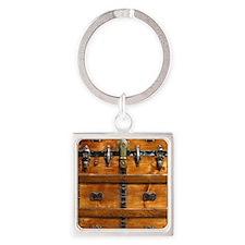 Vintage Wood Steamer Trunk Steam P Square Keychain