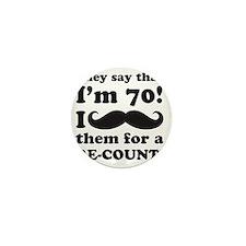 Funny Mustache 70th Birthday Mini Button