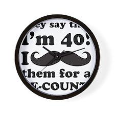 Funny Mustache 40th Birthday Wall Clock