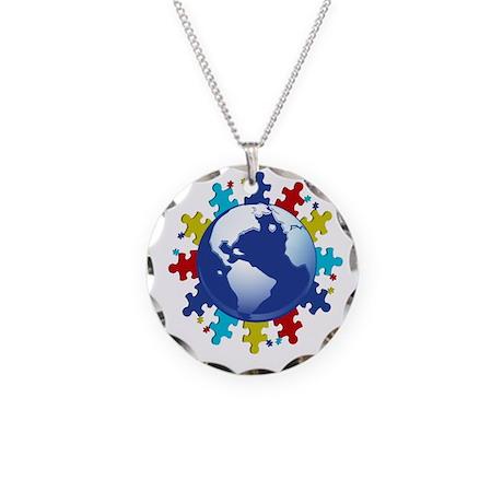 Autism Awareness Necklace Circle Charm