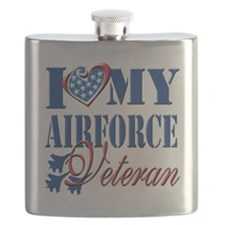 I Love My Airforce Veteran Flask