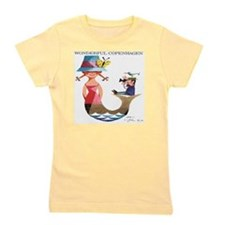Vintage Copenhagen Mermaid Bird Poster Girl's Tee