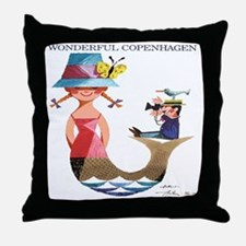Vintage Copenhagen Mermaid Bird Poste Throw Pillow