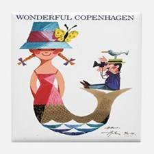 Vintage Copenhagen Mermaid Bird Poste Tile Coaster