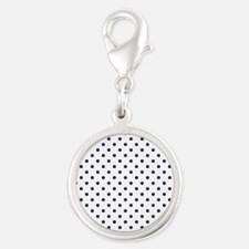 Navy Blue Polka Dot D1b Silver Round Charm