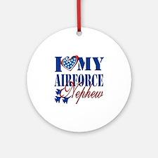 I Love My Airforce Nephew Round Ornament
