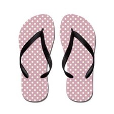 Dusty Pink White Polka Dot Long Flip Flops