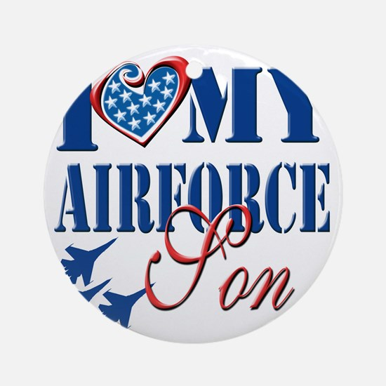 I Love My Airforce Son Round Ornament