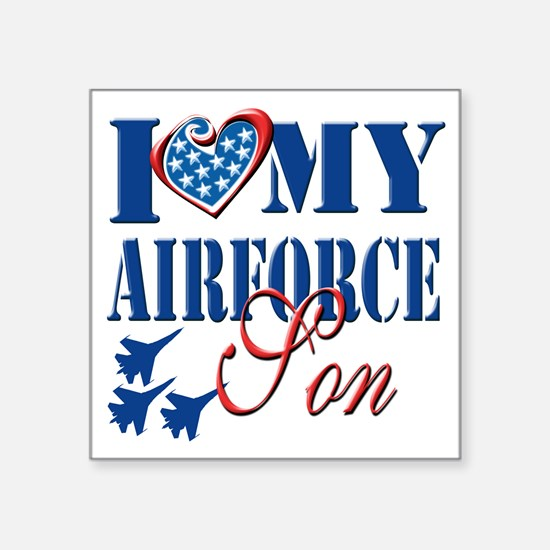 """I Love My Airforce Son Square Sticker 3"""" x 3"""""""