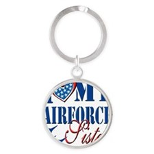 I Love My Airforce Sister Round Keychain