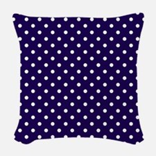 Navy Blue Polka Dot D1 Woven Throw Pillow