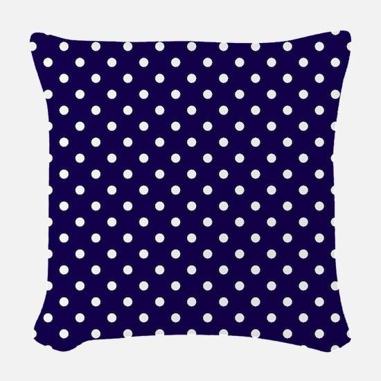 Navy Blue Polka Dot D1 Woven Throw Pillow