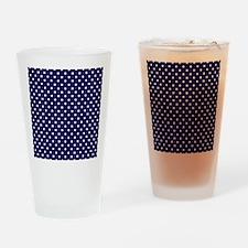 Navy Blue Polka Dot D1 Drinking Glass