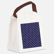 Navy Blue Polka Dot D1 Canvas Lunch Bag