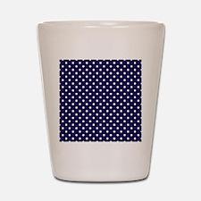 Navy Blue Polka Dot D1 Shot Glass