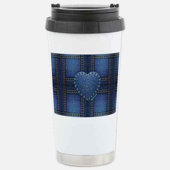 denim heart weave Stainless Steel Travel Mug