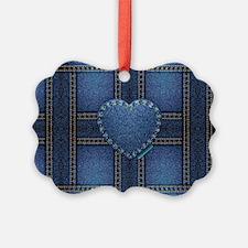 denim heart weave Ornament