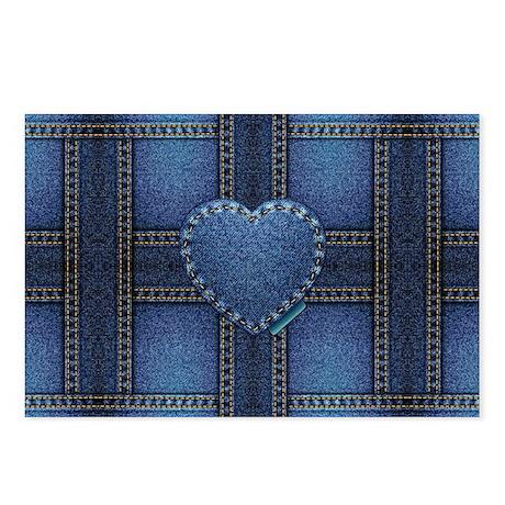 denim heart weave Postcards (Package of 8)