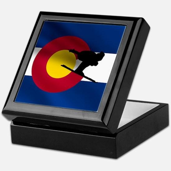 Colorado Skiing Flag Keepsake Box
