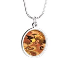 Rust and Gold Marbled Rainbo Silver Round Necklace
