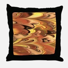 Rust and Gold Marbled Rainbow Swirl Throw Pillow