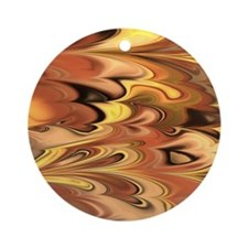 Rust and Gold Marbled Rainbow Swirl Round Ornament