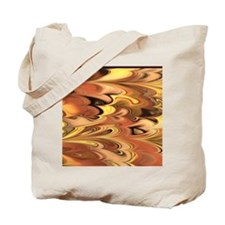 Rust and Gold Marbled Rainbow Swirl Tote Bag