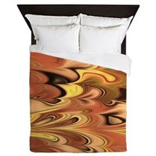 Rust and Gold Marbled Rainbow Swirl Queen Duvet